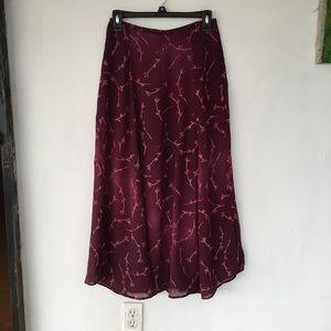 """Vintage maxi skirt purple floral 26"""" waist"""